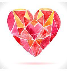 Bright color mosaic watercolor heart vector by Elmiko on VectorStock®
