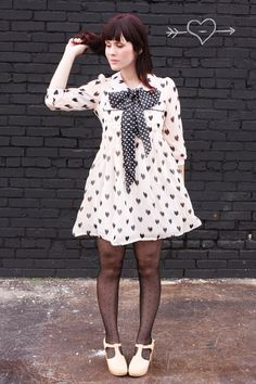 Pastries, Pumps and Pi: Who's Wearing What Wednesdays Polka dot and hearts.  Homemade bowtie