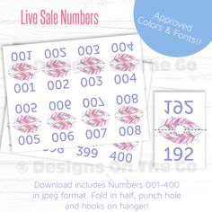 Feathers Live Sale Numbers - 8.5x11 - Lularoe - Approved Font and Color - DIY Print - Live Facebook Sale - Periscope - LLR