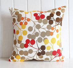 "Sepia Red Brown Blooms Decorative Pillow Cover - Polka Dot - Home - 16"" x16"" - living room -  Spring Summer Home Decor"