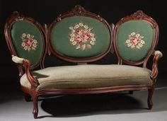 Late 19th century balloon-back settee.