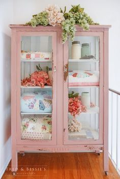 Shabby chic pink linen cupboard. #paintedfurniture #shabbychicbedroomspink