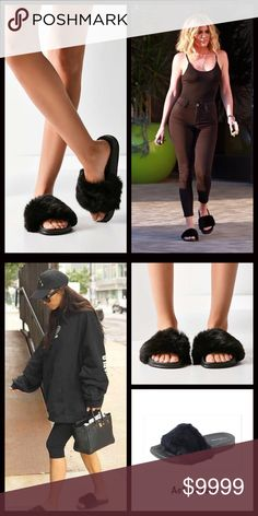 JUST IN Fur Covered Slides Cute and comfy and one of the hottest trends right now! Fur slide on shoes. (Faux fur) Perfect grab and go shoes!! Runs true to size but you can go up half a size for a little extra room. Please ask all questions prior to purchase. No trades. Price firm unless bundled. Shoes Sandals