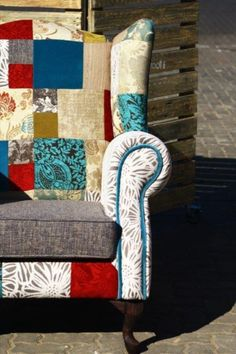 Wingback - Patchwork Design - Beetroot Inc. How To Be Likeable, Patchwork Designs, Beetroot, Pallet Furniture, Wingback Chair, Lush, Folk, Fabrics, Delivery