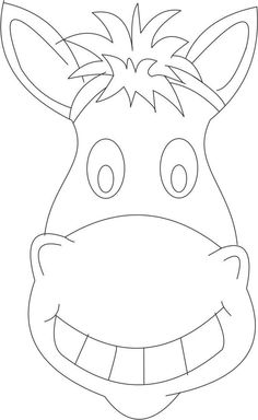 """Horse mask printable coloring page for kids, Kids loved this. Read """"Are You a Horse"""" by Andy Rash, right before the craft. The style of the horse mask works well with the illustrations in the book. Colouring Pages, Printable Coloring Pages, Coloring Pages For Kids, Coloring Books, Kids Coloring, Horse Crafts, Animal Crafts, Zebras, Wild West Crafts"""