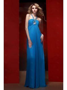 Pleated Bodice Chiffon Column Halter Floor Length Blue Prom Dress TBPD0044