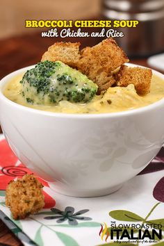 Broccoli Cheese Soup with Chicken and Rice in Just 25 Minutes #chicken #soup #recipe