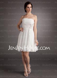 A-Line/Princess Strapless Knee-Length Chiffon Wedding Dress With Ruffle Lace Beadwork Sequins (002012118)