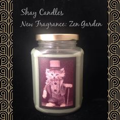Zen Garden scent takes you on a gentle journey of mindful peace. Lotus blossoms neroli jasmine lemongrass. Available online www.ShayCandles.com  Natural coconut wax candle hand-poured in Southern CA. Scented with Premium Fragrance Oils 100% cotton wick Long-lasting clean burning eco-friendly  Art and Function. Hand-poured eco-friendly Shay Candles with vintage art decoration. The glass jar serves as home decor long after the candle is finished burning.  Burn Time: 60 hours (approximately) 12…