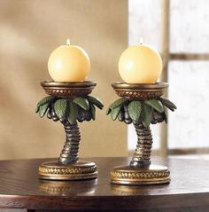 LOT of 4 LOVELY PALM TREE CANDLE HOLDERS!~PATIO~LUAUS~HAWAIIAN PARTY!~FAB DECOR | eBay