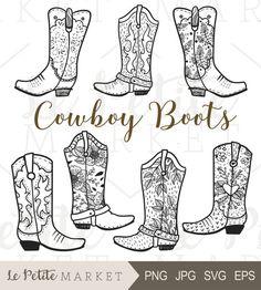 Cowboy Boot Clip Art, Hand Drawn Cowboy Boots, Cowgirl Boots Clipart, Cowboy Boot Digital Stamp, Western Boots ClipArt, Rodeo Clipart