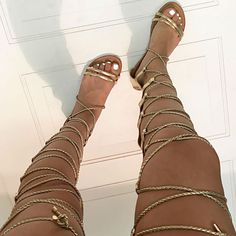 Lace up Thigh High Flat Sandals