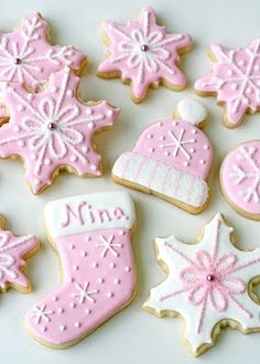 Sweet Treats for a girl's winter baby shower! Cute pastel colored cookies done in pink and white. Christmas Baby Shower, Baby Shower Winter, Pink Christmas, Christmas Goodies, Christmas Treats, Christmas Baking, Rolled Sugar Cookie Recipe, Sugar Cookies Recipe, Spring Cupcakes