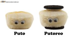 Putoreos are Oreos stuffed with Puto.     Puto is a #Filipino steamed rice cake often eaten as dessert or breakfast. It is also a derogatory term in Spanish for gay men or prostitutes, but I assure you these #puto are not prostitutes. This photo is what happens when you buy too much puto and have too much time. Enjoy and share because sharing is nice, and puto is rice. #philippines #tagalog