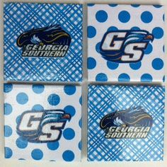 Georgia Southern Eagles Coasters. $14.99, via Etsy. --> I am wondering if I could make these with stickers, scrapbook paper, and Mod Podge...Hmmm....