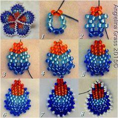 * beaded plumeria tutorial (flat peyote stitch; five petals total; stitched together to form plumeria)