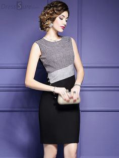 Buy Brief Contrast Color Sleeveless Bodycon Dress with High Quality and Lovely Service at DressSure.com