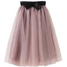 YSJ Lady's Organza Princess Skirt Bowknot Pleated Midi Skirts... ($21) ❤ liked on Polyvore featuring skirts, organza midi skirt, brown midi skirt, knee length pleated skirt, lavender skirt and brown skirt