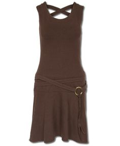Soulflower.com...Soft and stretchy, the sleeveless Brown Eyed Girl dress has a crisscrossed back and a low, hip swooping belt that includes a bronze ring. $54