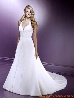 Romantisches schönes Brautkleid aus Satin V-Ausschnitt Bodenlang