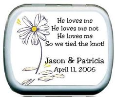 Daisy Petals Personalized Mints Wedding Favor
