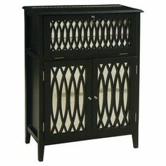 Entertain in sophisticated style with this handsome wine chest. The lift-top and drop-front open to reveal a mirrored serving area, while 2 bottom doors organize your favorite vintages.