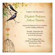 love birds and love cage custom wedding invitation  Click on photo to purchase. Check out all current coupon offers and save! http://www.zazzle.com/coupons?rf=238785193994622463&tc=pin
