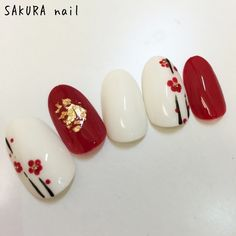 Red floral Japanese Pig Nails, New Year's Nails, Nail Art Hacks, Gel Nail Art, Acrylic Nails, New Years Nail Art, Kawaii Nails, Floral Nail Art, Japanese Nail Art