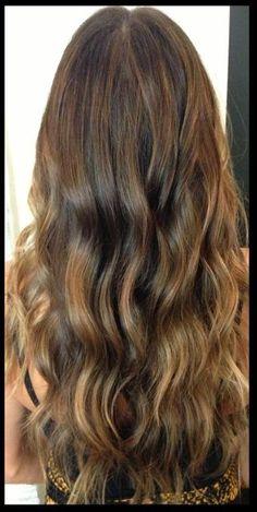 brunette w/ caramel balayaged highlights