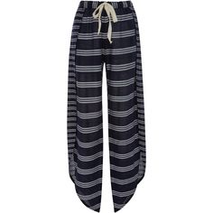 Lemlem     Edna Striped Fly Away Pant ($265) ❤ liked on Polyvore featuring pants, stripe, stripe pants, blue stripe pants, striped pants, blue trousers and blue pants