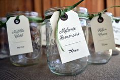 These mason jar tags are perfect for a barn wedding! Casual Custom Printed Seating Card Tags via Etsy. Escort cards.