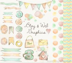 Watercolor Blog and Web Graphics Clipart - Social Media Icons Twitter, Pinterest, RSS, Facebook, Banner, Chevron, Polka Seamless Background