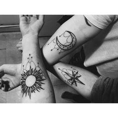 Sun star moon friendship tattoos