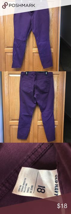 "Old Navy Rockstar Skinny Jeans 18 Old Navy Rockstar Skinny Jeans 18 pretty plum, purple color. Lots of stretch. 28"" inseam Old Navy Pants"