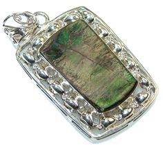 $101.89 Perfect!! Green Ammolite Sterling Silver Pendant at www.SilverRushStyle.com #pendant #handmade #jewelry #silver #ammolite