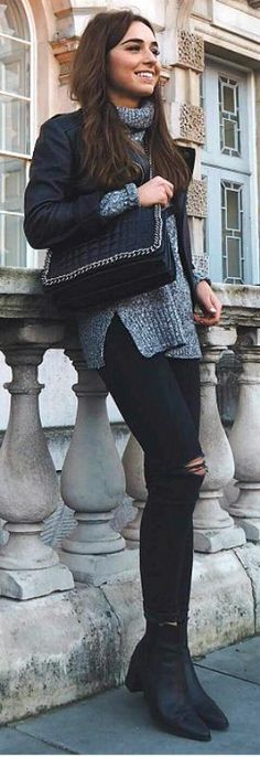 Black leather is the perfect match to dark knitwear. This marl grey polo neck sweater looks cute and cosy worn with Weronika Zalazinska's jacket layered over the top. Jumper: H&M, Jeans: Topshop, Boots: Zara. Fall Outfits.... | Style Inspiration