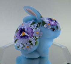 Fenton BUNNY Rabbit BLUE SATIN Pansy & Wildflowers OOAK FreeUSAshp