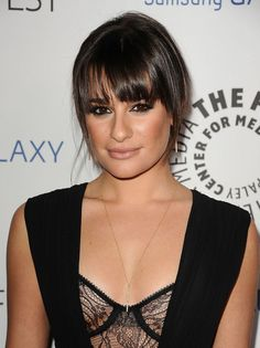 "Insider secret: Keep your long bangs like Lea Michele's looking fresh by pulling the rest of your hair back into a ponytail and washing your bangs when you wash your face, says Scrivo. ""This way you refresh your style without having to wash the whole head each time."" To get her look, ask for bangs that are tapered at the ends, says Scrivo. For a whole different vibe, gently push long bangs to the side so they're angled but not completely side-swept."