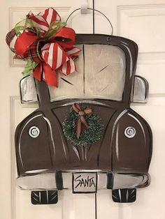 Items similar to Christmas Truck wall / door Hanger Decoration on Etsy Christmas Wood Crafts, Christmas Door Decorations, Christmas Projects, Christmas Art, Holiday Crafts, Xmas, Red Truck Decor, Christmas Wall Hangings, Door Hangings