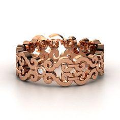 Rose Gold Scroll Diamond Ring