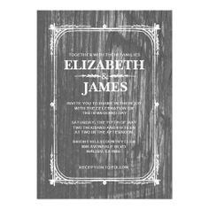 black and white rustic barn wood wedding invitation