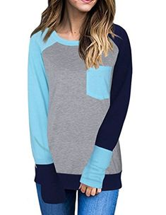 03d86a447b8 online shopping for Exlura Women s Casual Long Sleeve Crewneck Color Block  Pocket T-Shirt Tunic Tops from top store. See new offer for Exlura Women s  Casual ...