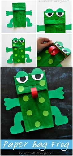 Paper Bag Frog Puppet Kids Craft This Paper Bag Frog Kids Craft goes great with Five Green and Speckled Frogs or when learning about the letter F in preschool. Free arm and legs pattern included. from iheartcraftything… Daycare Crafts, Classroom Crafts, Toddler Crafts, Frog Puppet, Paper Bag Crafts, Diy Paper, Paper Bags, Paper Bag Puppets, Letter A Crafts