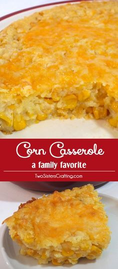 """Our Corn Casserole recipe is a family favorite Thanksgiving food side dish - this sweet-savory, corn bread """"like"""" dish is super delicious and very easy to make. It will be one of your family's favorite Holiday Foods. Follow us for more great Christmas Food Ideas."""