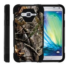 Samsung Galaxy J3 Black Case, Amp Prime Shell Case, Express Prime Case [SHOCK FUSION] 3 in 1 Combo Kickstand Case + Screen Protector Film + Stylus Pen by Miniturtle® - Tree Bark Hunter Camo