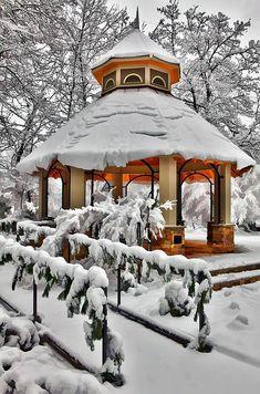 "bluepueblo: "" Snow Gazebo, Greensboro, North Carolina photo via roxanne """