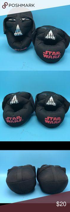 Star Wars Darth Vader Black Slippers Child Sz 9/10 Fluffy thick plush black slippers. Shoes Slippers