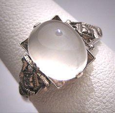Antique Moonstone Ring Vintage Art Deco by AawsombleiJewelry