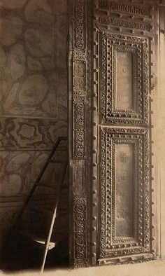Richly ornamented side of narthex (vestibule) door of Ayasofya Mosque, formerly the Church of Hagia Sophia. Istanbul. 1888-1910.