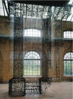 Seon Ghi Bahk: installations of charcoal and nylon thread